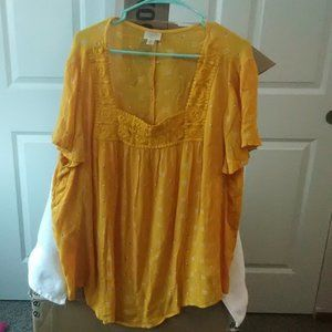 Zinnia gold ditsy top 2 XL
